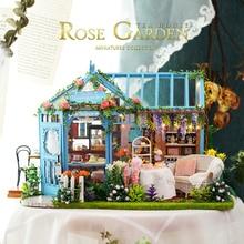 DIY Doll House Furnitures Miniature Doll House Rose Garden Dust Cover Handmade Light House Toys For Children #E