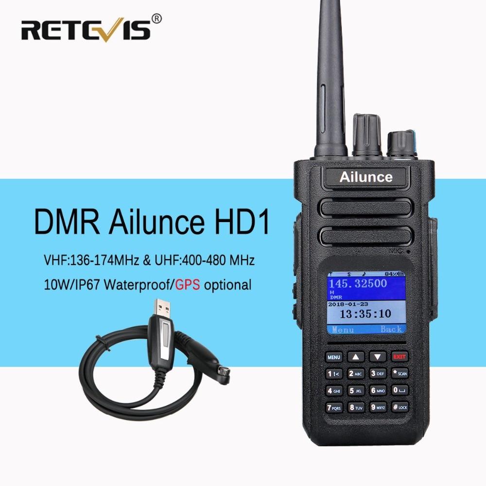 Dual Band DMR Ham Radio Retevis Ailunce HD1 GPS Digital Walkie Talkie VHF UHF Ham Amateur Radio Hf Transceiver Program Cable