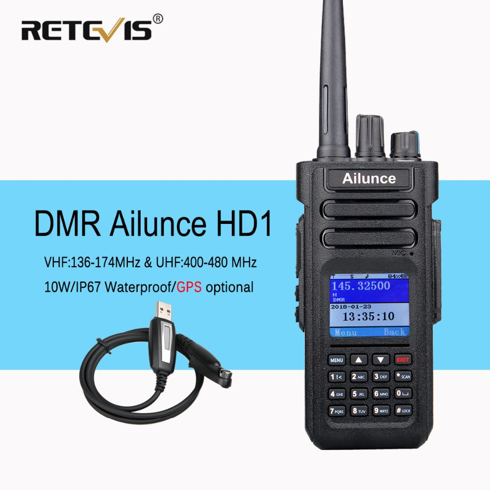Dual Band DMR Ham Radio Retevis Ailunce HD1 GPS Digitale Walkie Talkie 10 w VHF UHF Ham Amateur Radio Hf transceiver Cavo di Programma