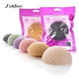 Image 4 - Fulljion 6 renkler doğal Konjac Konnyaku kozmetik puf yüz sünger yüz temizleyici yıkama yüz bakımı yüz toz makyaj araçları
