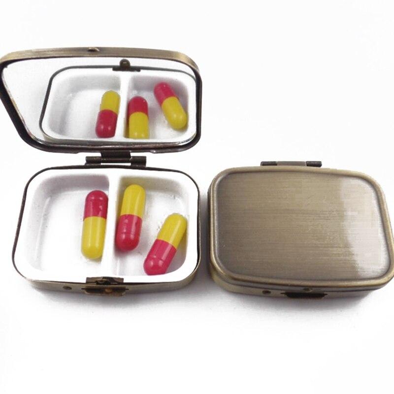 Portable Metal Pill Box Ancient Bronze Metal Square Drug Box Storage Medicine Tablet Storage Case Vitamin Container Organizer