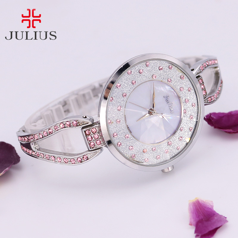 Rhinestone Shell Lady Women's Watch Japan Quartz Elegant Fashion Hours Clock Dress Chain Bracelet Girl Birthday Gift Julius Box new simple cutting glass women s watch japan quartz hours fashion dress stainless steel bracelet birthday girl gift julius box