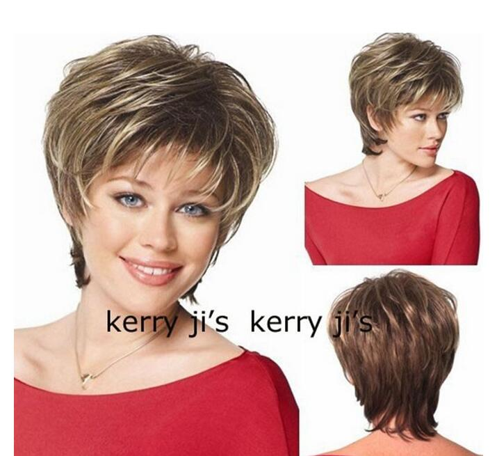Jewelry Wig  Natural Brown Blonde Streaked Short Hair Wigs Short Women's Fashion Wig Free Shipping