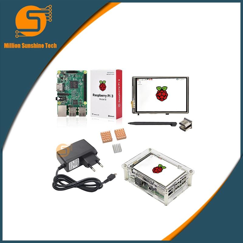 3.5 pouces Raspberry pi 2/3 écran tactile LCD + Raspberry pi 3 + coque acrylique + dissipateur de chaleur + alimentation + adaptateur HDMI