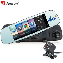 Junsun 4G GPS Del Coche DVR Del Espejo de 7 pulgadas Android GPS Vehículo navegador GPS satnav de navegación con Cámara de Vista Trasera del automóvil libre mapa
