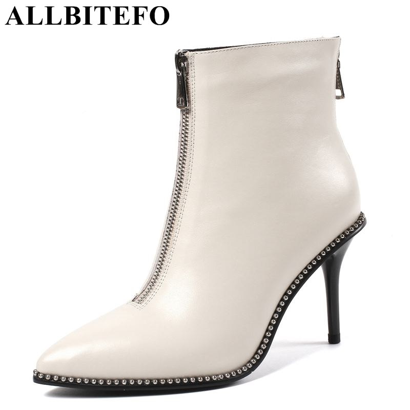 allbitefo brand genuine leather super high heel ankle women boots fashion sexy ladies girls martin boots motocycle boots shoes ALLBITEFO brand real genuine leather women ankle boots string bead design fashion sexy high heel shoes for girls motocycle boots
