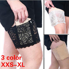 2019 Summer Thigh Bands Black Sexy Lace Flower Women Anti-skid Sock Thigh Garters Leg Warmers Leg Warmer Cuffs Phone Pocket(China)