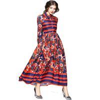 Maxi Dress Women Striped Floral Print 2018 Spring Summer Dress Work Casual Slim Runway Buttons Up