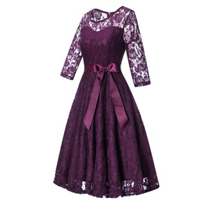 Image 2 - OML 516Z#Middle sleeve O Neck short purple lace Bow Bridesmaid Dresses wedding party dress prom gown womens fashion wholesale