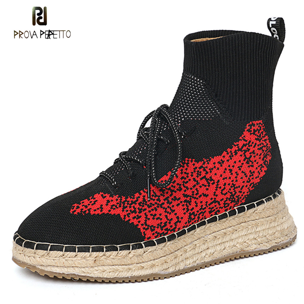 Prova Perfetto New Women Men Knit Upper Breathable Sneakers Platform Lace-up Shoes Woman High Top Leisure Shoes Fisherman Shoes сумка cerruti 1881 cerruti 1881 ce899bmurt97