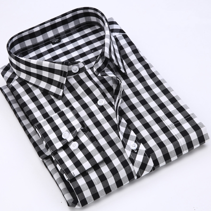 Men Casual Shirts Plaid Long Sleeve Shirt Spring Autumn 100% Cotton Turn-down Collor Slim Fit Comfortable Shirts