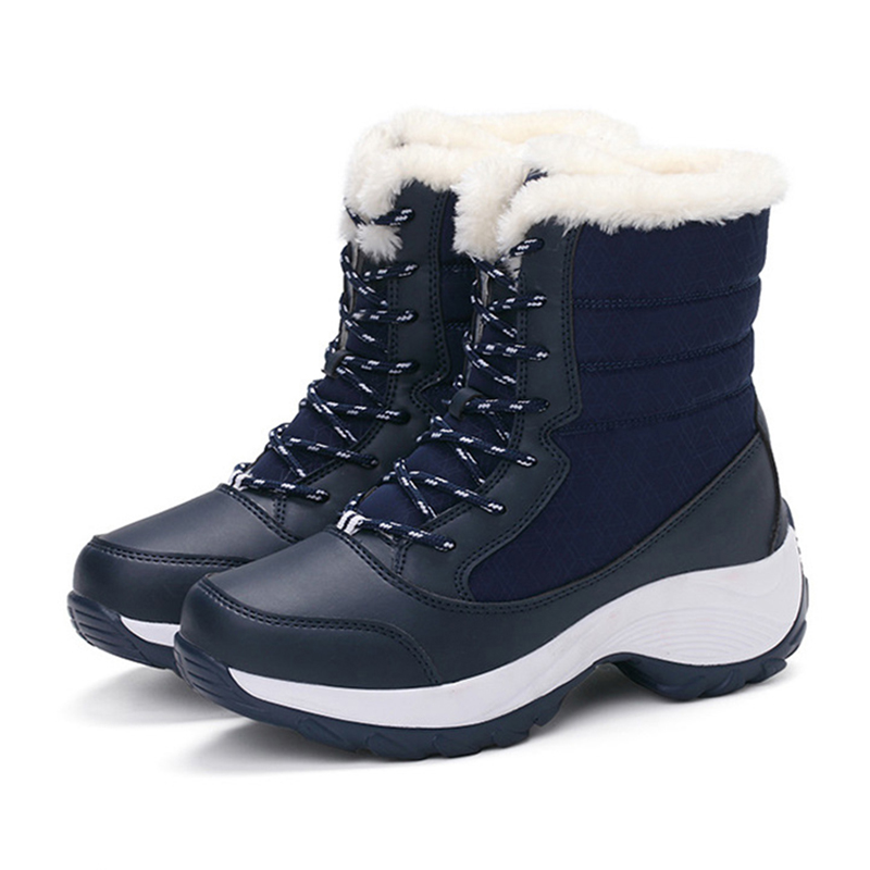 2019 New Women Boots High Quality Leather Suede Winter Boots Women Keep Warm Lace-up Waterproof Snow Boots 5