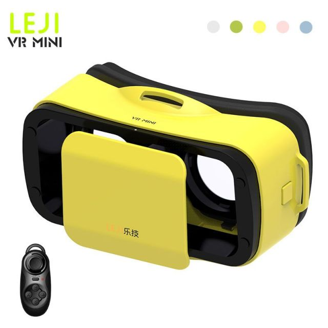 vr box LEJI VR Mini Headset Virtual Reality 3D Glasses Head Mount Google Cardboard Movies Games For 4.7'-6'phone+Remote Control