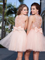 Sexy Peach Sheer Beaded Scoop Neck Short prom dresses Tulle A Line Backless Mini Party Cocktail Dresses Ruffled