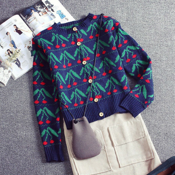 c9bd9bb673e4b8 Printed Knitted Sweater Women Girls Single Breasted Cardigans Sweater  Fashion Long Sleeve Knitwear Tops