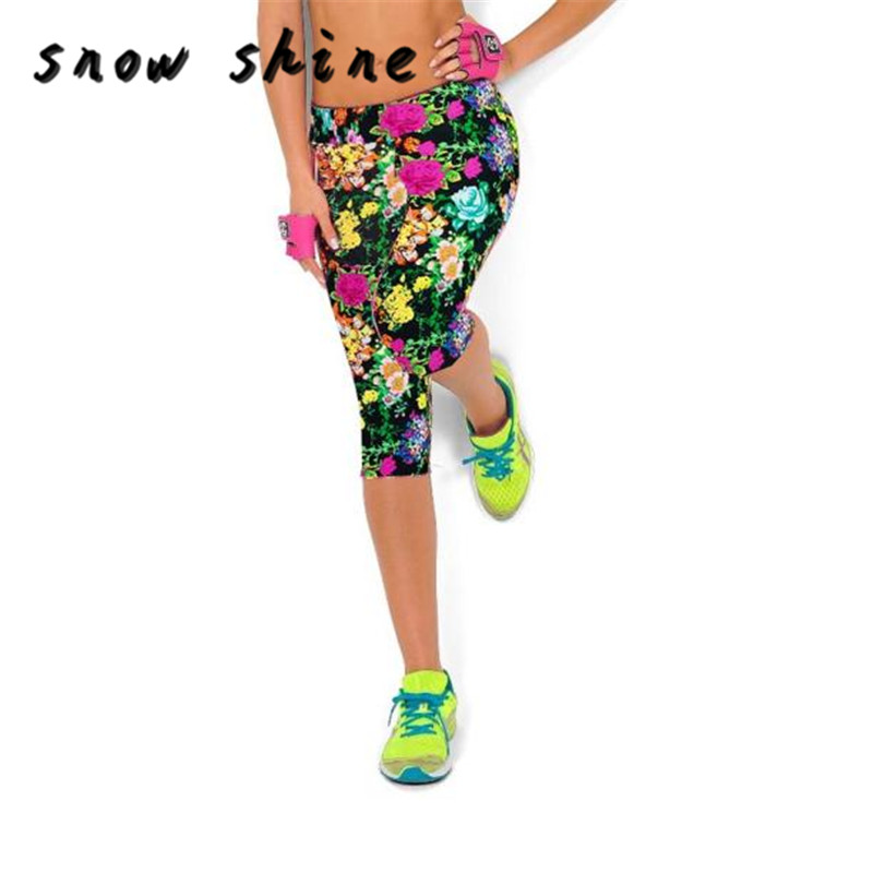 snowshine YLIW High Waist Fitness  Pants Printed Stretch Cropped Leggings free  shipping