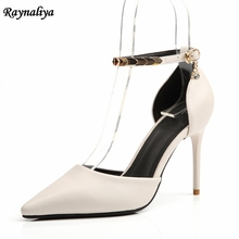 Women Fashion Red Black Dress Sandals Pointed Toe Pumps Thin High Heels Ankle Strap Party Sandal Shoes Big Size 9CM XZL-A0051