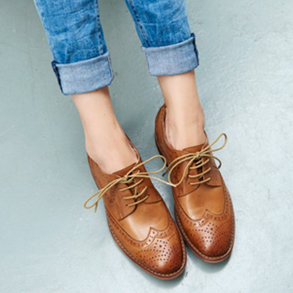 Genuine Cow Leather Women Waxed Flats Female Loafers British Handmade Rubber Cross-tied Solid Shoes For Women 35-41 Lace-up 19