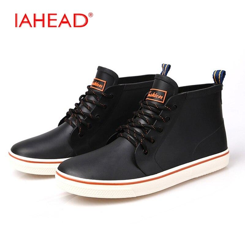 Men Boots Mens Rubber Rain Boots Rubber Soft Winter Shoes Men Lace-Up Fashion Safety Boots botas masculino MH514