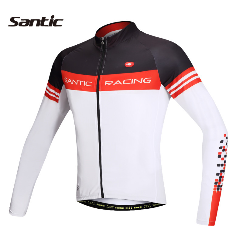 ФОТО 2017 Santic Cycling Jacket Men's Bike Racing Spring Fleece Cycling Jackets Cycling Clothes Ciclismo Jersey Maillot M5CO1063W