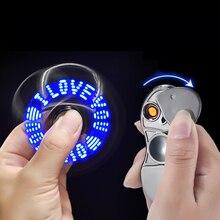 Metal Mão Fidget Girador Cigarro Do Carro Mais Leve USB Flash LED Brinquedo Giratório de Luz Mostra Eu TE AMO Texto Artefatos de Descompressão
