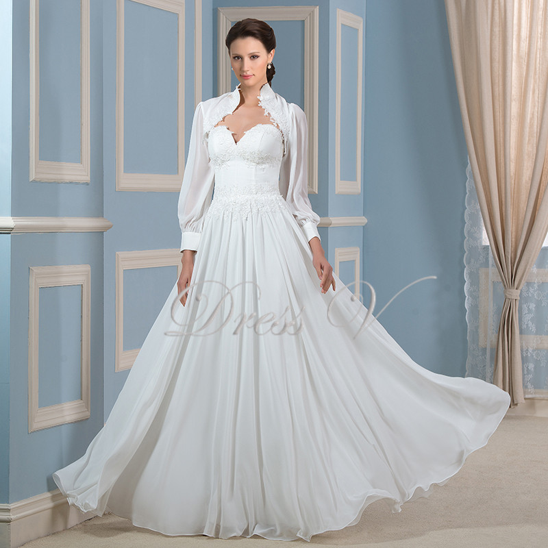 Fashionable muslim wedding dresses with jacket long for Wedding dress long sleeve lace jacket