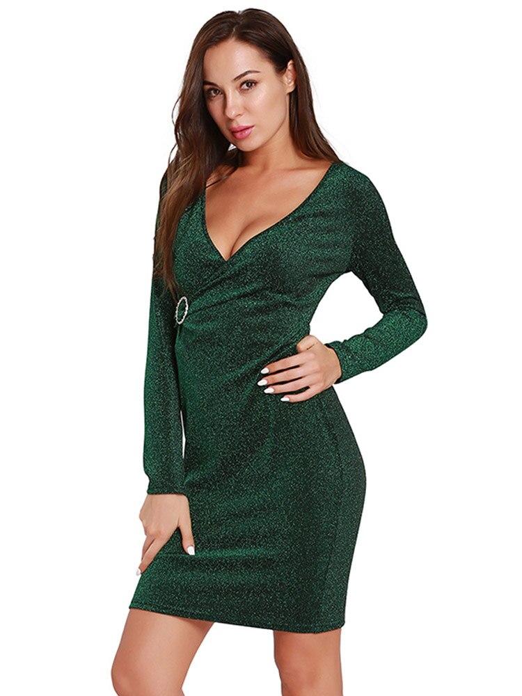 2019 модное женское облегающее платье с длинным рукавом, сексуальные платья с пайетками вечерние, вечерние мини-Клубные платья с глубоким v-об...