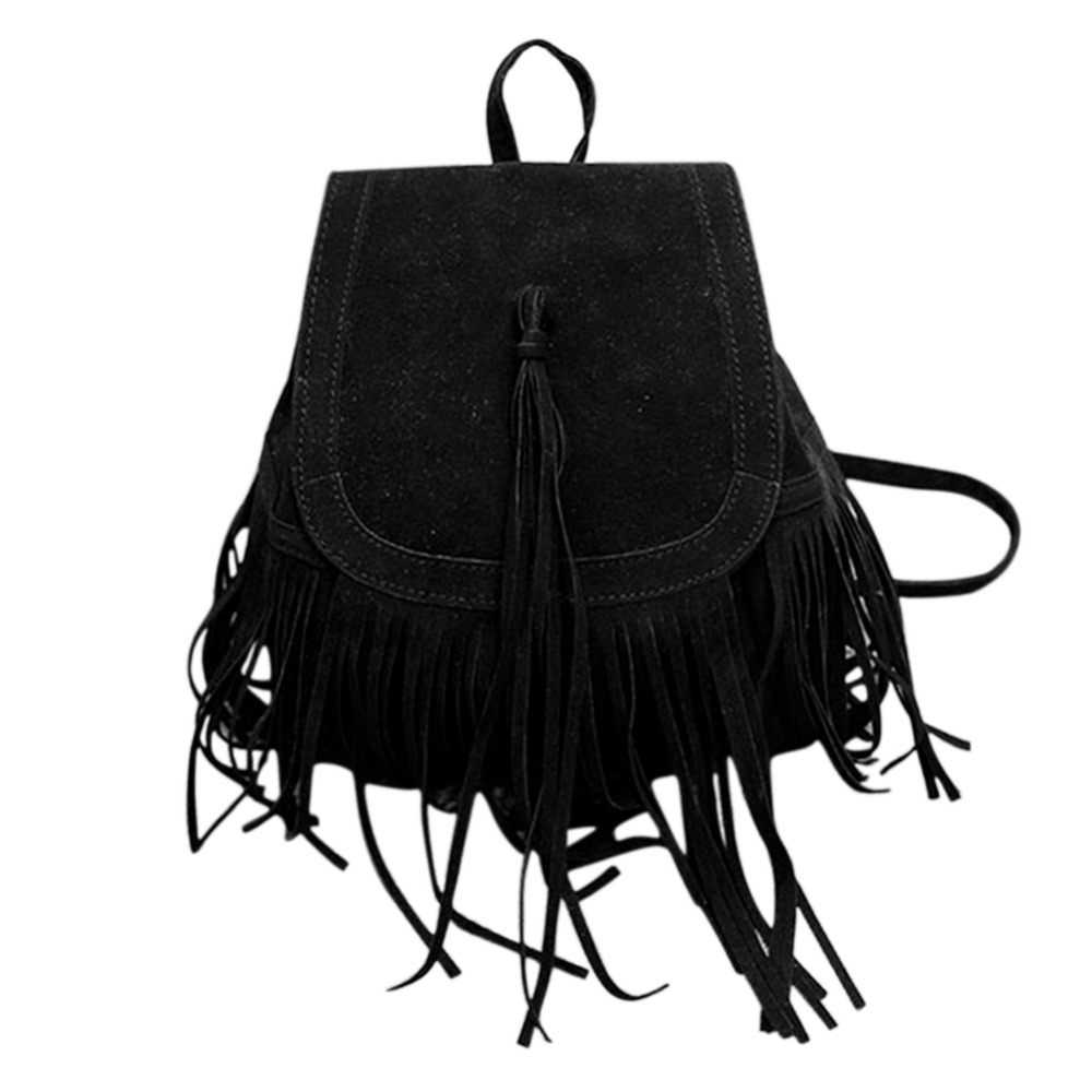 Casual Women Backpack Mini Tassels Rucksack Fashion Solid Women Shoulder Bag Satchel Faux Suede Leather Mochilas