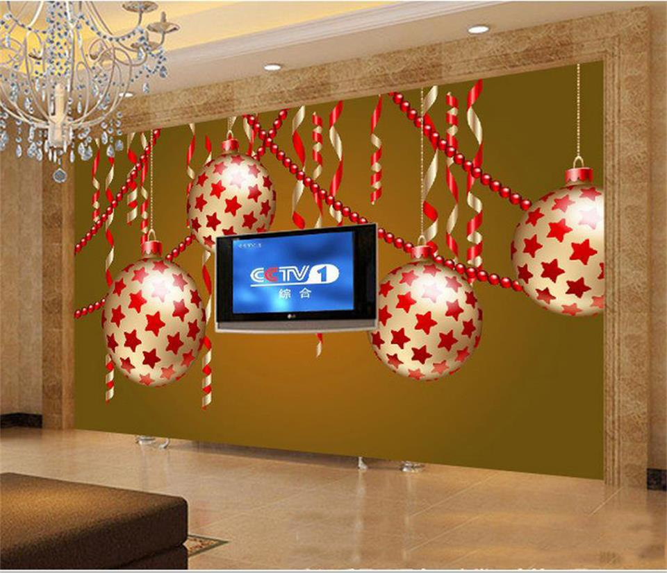 3d wallpaper custom photo mural living room Christmas festival color ball 3d painting sofa TV background wall non-woven sticker free shipping large wall painting background wallpaper non woven living room sofa 3d wallpaper mural