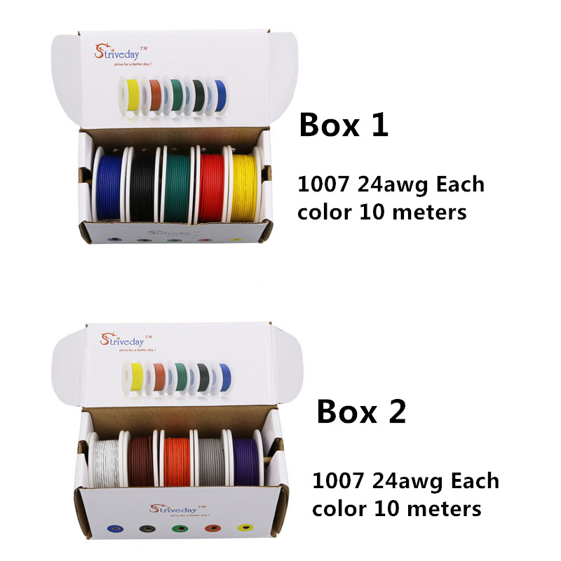 <font><b>100m</b></font> UL 1007 <font><b>24AWG</b></font> Electrical Wire Airline Copper PCB line 32.8 feet each colors ( 10 colors Mix box 1+box 2 Stranded Wire Kit ) image