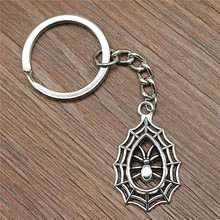 Keyring Spider Keychain 35x20mm Silver Plated New Fashion Handmade Metal KeyChain Souvenir Gifts For Women B10027 2019 1pc fashion jewelry mini keychain spider keychain spider web keychain silver dres s elegant diy handmade