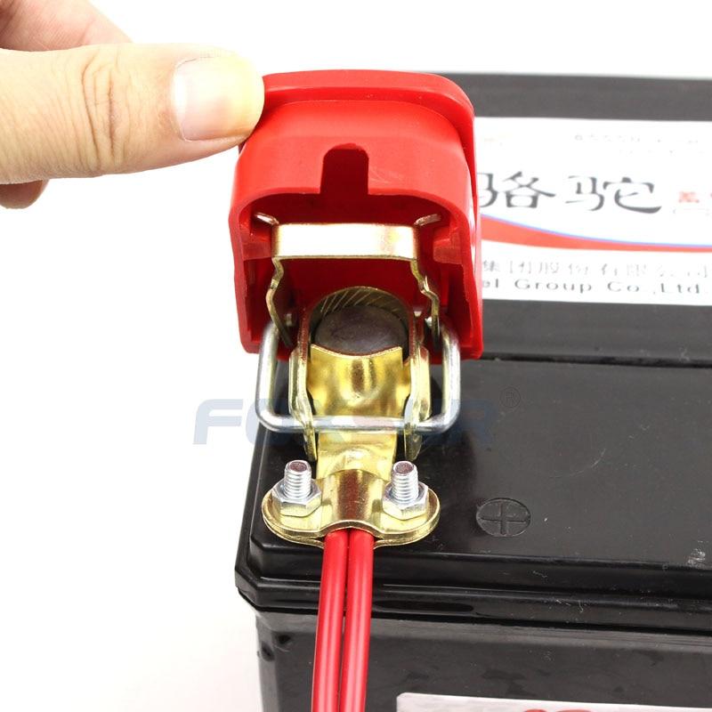 FOXSUR Quick Release Battery Terminal Clamp Connector 12V Car Battery Quick Disconnect Terminal with Thick Plastic case 1 pair