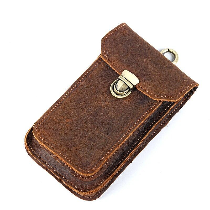 2017 nouveau hommes homme portefeuille Vintage en cuir véritable marron téléphone Mobile taille sac poches poche sac à main pour voyage arrêt de porte