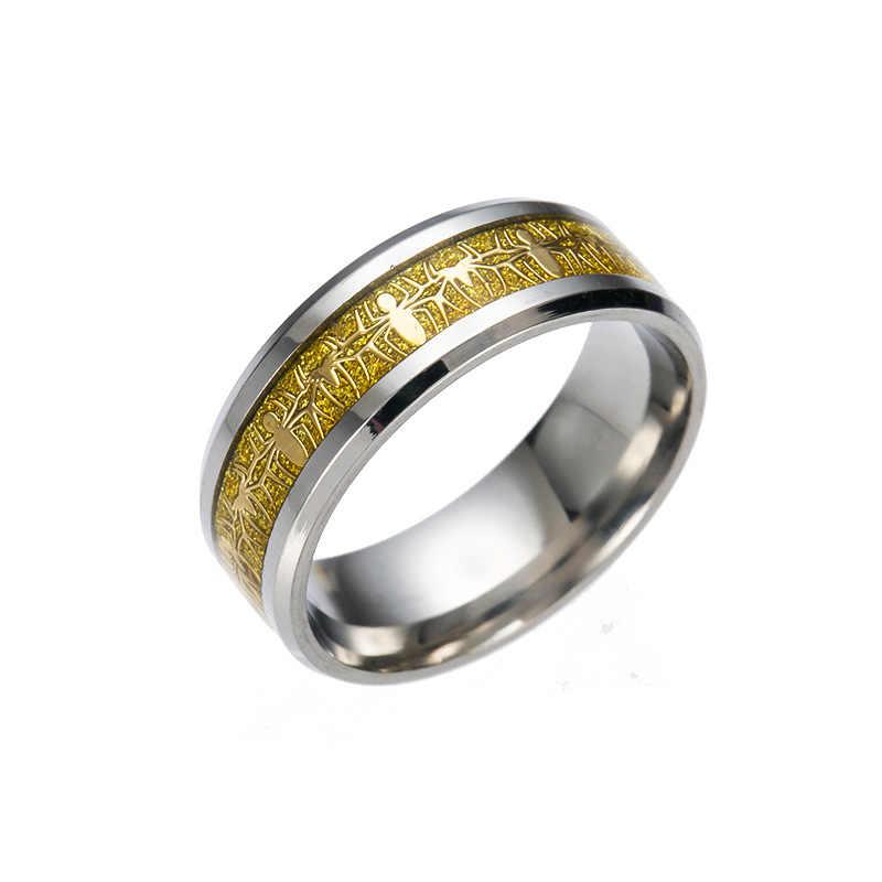 เกมภาพยนตร์รอบS Pider-ManสแตนเลสแหวนRetroสไตล์เหล็กผู้ชายแหวนผู้ชาย2017อุปกรณ์เครื่องประดับจัดงานแต่งงานสำหรับผู้หญิง