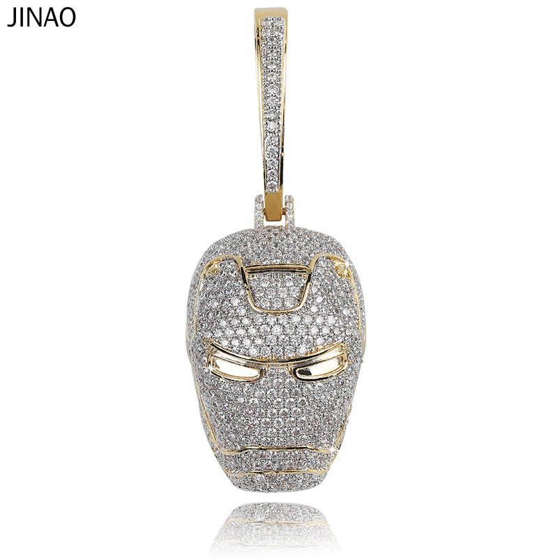 JINAO ICED OUT New Ironman Inspired Pendant Necklace with Tennis Chain Cuban Chain Hip Hop Jewelry