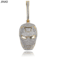 JINAO ICED OUT New Ironman Inspired Pendant Necklace with Tennis Chain Cuban Chain Hip Hop Jewelry Street Culture