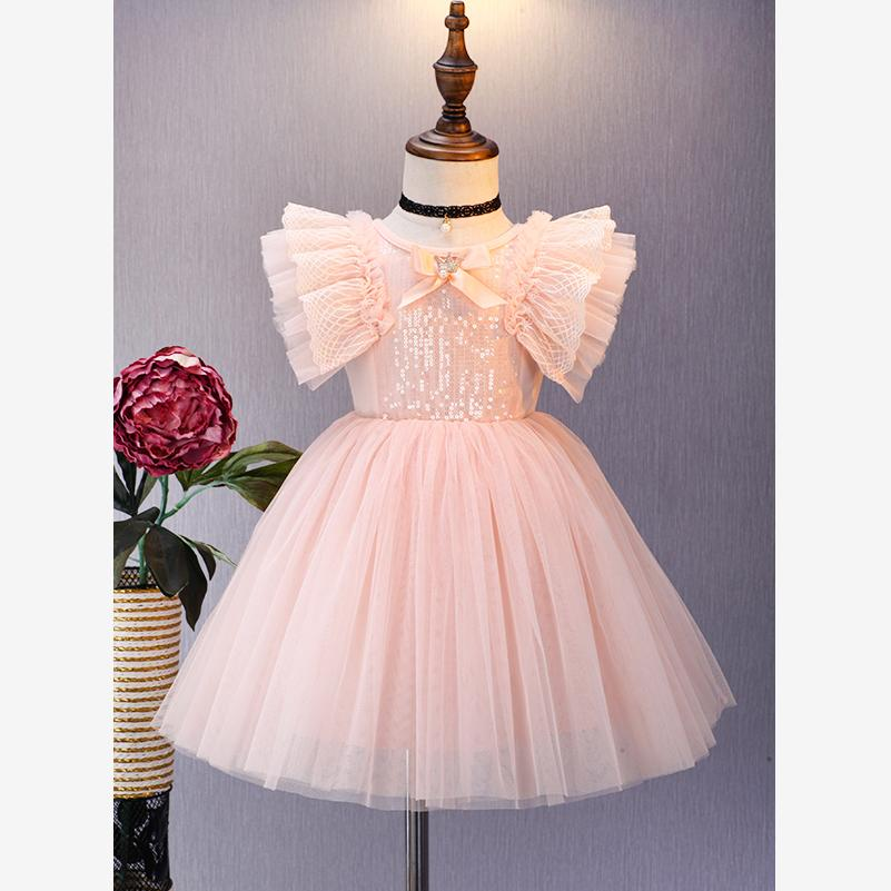 Baby Girls Dress 2019 Summer Spanish Fashion Sequined Design Spliced Dress Birthday Party Children's Day Gown Vestidos Y1227