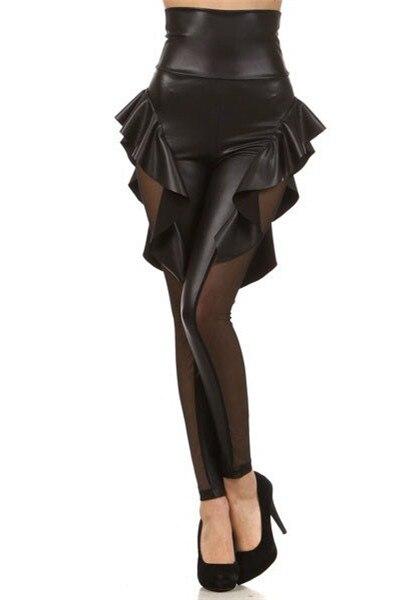 תפרים תחרה עור הצדדים Leggins חצאית לפרוע סקסי פאנק צועד אופנה צועד