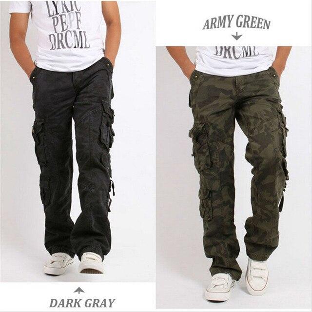 Мужские хлопковые военные мульти карманные утилитарные повседневные просторные брюки карго полной длины для улицы, Рабочие камуфляжные штаны, Размеры 30   38