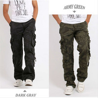 Men's Cotton Combat Multi Pockets Utility Casual Loose Long Full Length Cargo Pants Work Trousers Camouflage Size 30 38