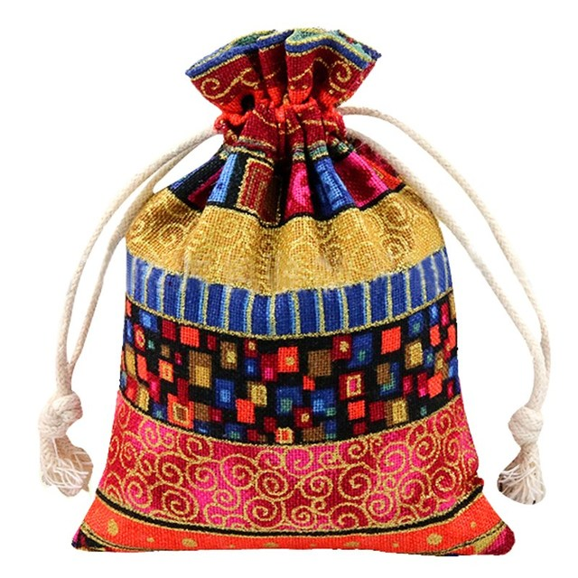 10Pcs Jewelry Bag Drawstring Cloth Linen Packaging Wedding Gift ...