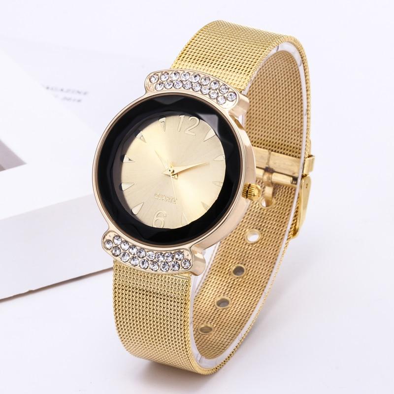 bebb15781 2019 جديد العلامة التجارية الفاخرة المرأة الساعات الذهب شبكة حزام الماس  مرآة ساعة كوارتز الأزياء كريستال
