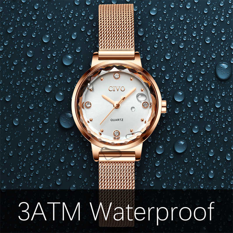 CIVO 2019 高級カジュアル腕時計レディース防水メッシュ時計バンドクォーツ時計レディース腕時計ギフト妻レロジオ Feminino