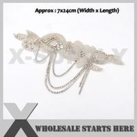 1pc Lot New Arrivals Retail White Bridal Rhinestone Applique For Sash Bridal Dress Decostaion SI
