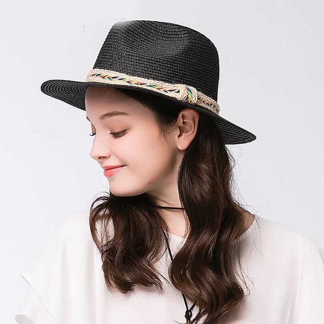 45907e0d3fa Fashion Toquilla Straw Wide Brim Women Panama Beach Sun Hat For Elegant  Lady Summer Floppy Chapeu Feminino Fedora Sunbonnet