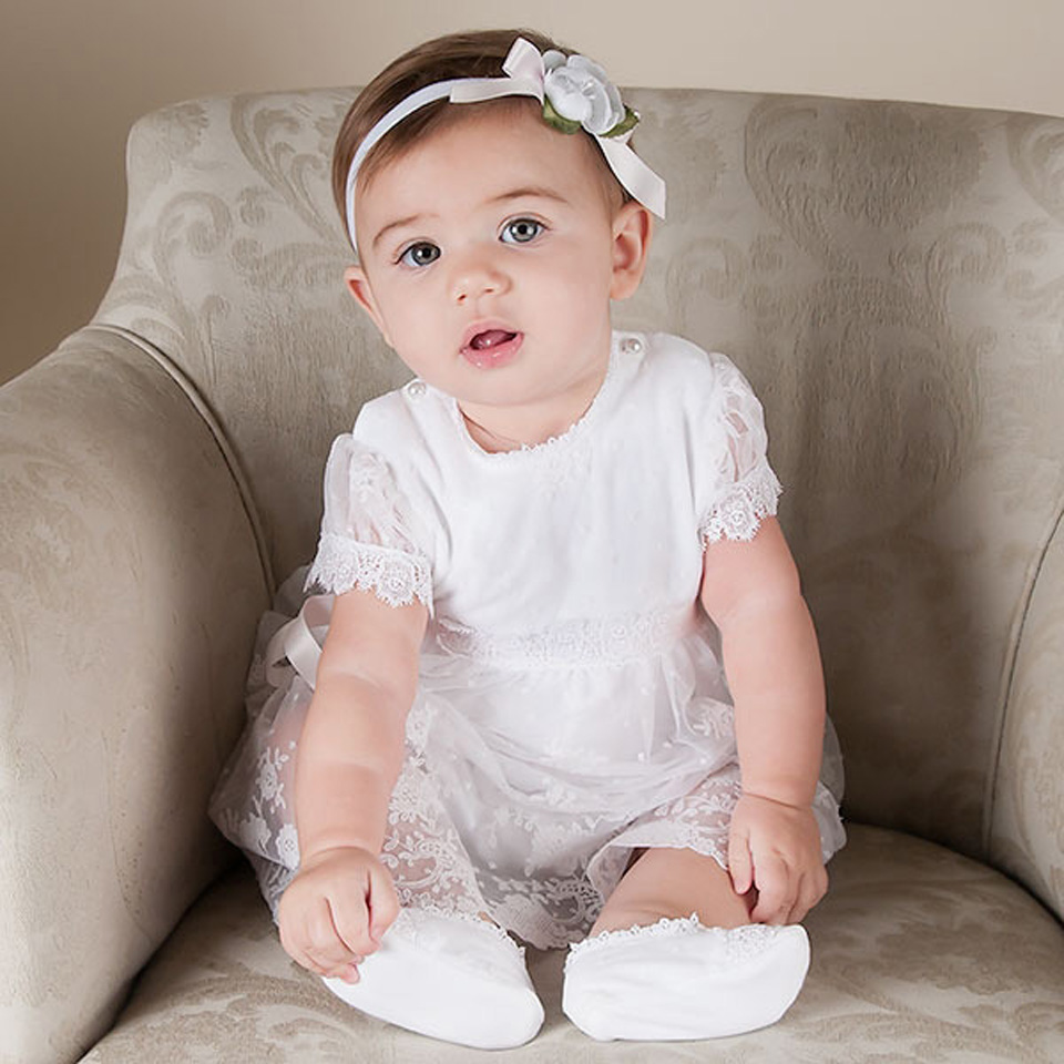 With Headband New White Lace pattern and knee length summer style baby girls dress baby girl christening gowns hot summer style baby girls dress o neck floor length puff sleeve sleeveless lace a line formal baby girl christening gowns