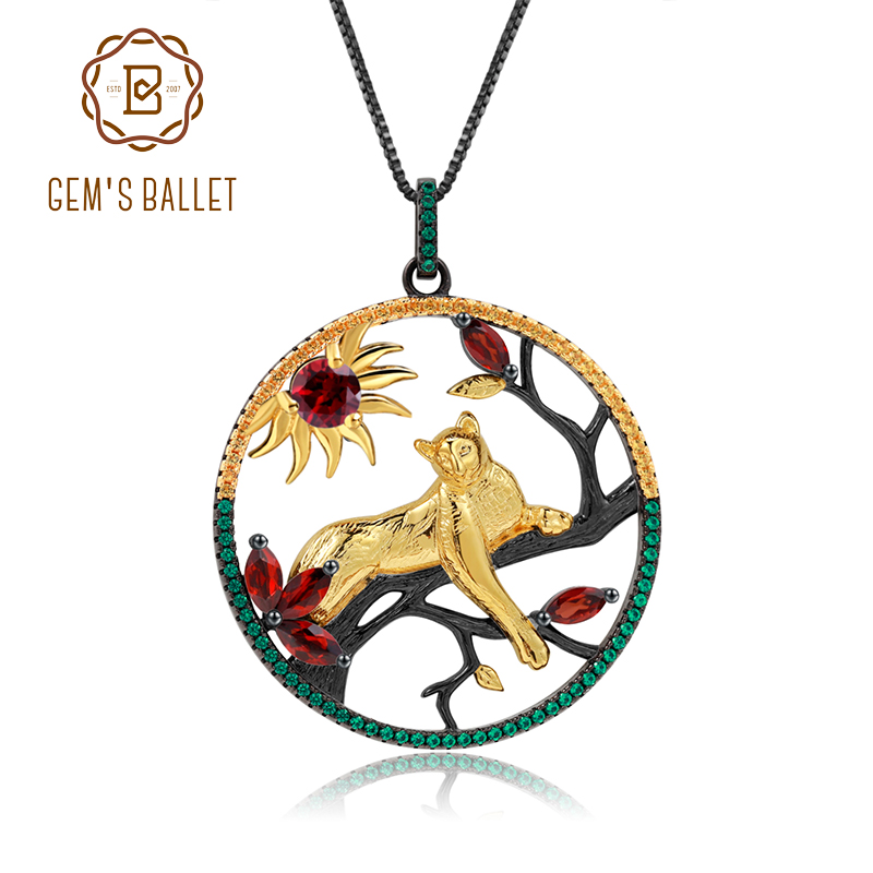 GEM'S BALLET 1.64Ct Natural Red Garnet Handmade Leopard On The Tree Pendant Necklace 925 Sterling Silver Fine  Jewelry For Women