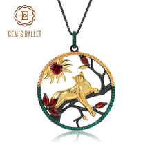 GEMS BALLET 1.64Ct Natural Red Garnet Handmade Leopard on the Tree Pendant Necklace 925 Sterling Silver Fine  Jewelry For Women