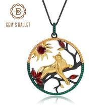 Gems ballet 1.64ct granada vermelha natural feito à mão leopardo na árvore pingente colar 925 prata esterlina jóias finas para mulher