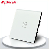 UK Standard 1 Gang 1 Way LED Touch Dimmer Switch White Crystal Glass Panel Light Wall